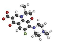 levofloxacin antibiotic drug (fluoroquinolone class), chemical structure. - stock illustration