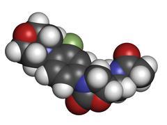 Stock Illustration of linezolid antibiotic drug (oxazolidinone class), chemical structure.