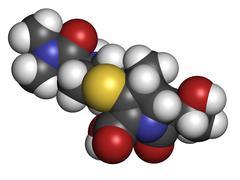 meropenem broad-spectrum antibiotic (carbapenem class), chemical structure - stock illustration
