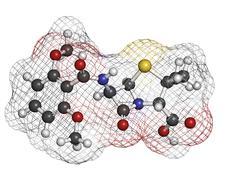 meticillin antibiotic drug (beta-lactam class), chemical structure. - stock illustration