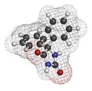 Phenytoin epilepsy drug, chemical structure. Stock Illustration