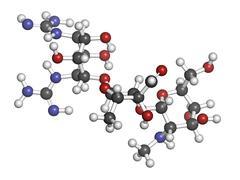 Stock Illustration of streptomycin antibiotic drug (aminoglycoside class), chemical structure.