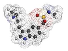 Sumatriptan migraine headache drug (triptan class), chemical structure. Stock Illustration
