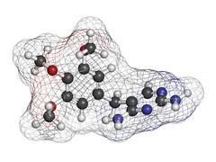 trimethoprim antibiotic drug, chemical structure. - stock illustration