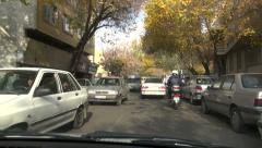 Driving through the streets of central Tabriz, Iran Stock Footage