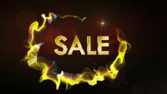 Sale Gold Text in Particles, Fast Stock Footage