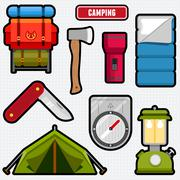 Camping graphics and icons - stock illustration