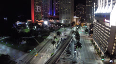 Flying over Downtown Miami at night - stock footage