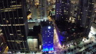 Stock Video Footage of Downtown Miami night aerial