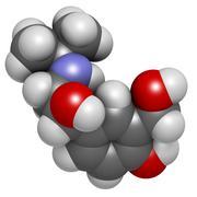 Salbutamol (albuterol) asthma and copd drug, chemical structure. Stock Illustration