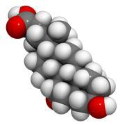 Ursodiol (ursodeoxycholic acid, udca) gallstone treatment drug, chemical stru Stock Illustration