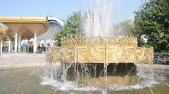 Stock Video Footage of Fountain near Olay market in Tashkent, Uzbekistan