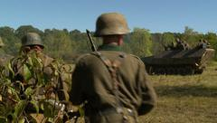 Germans march to battle - stock footage