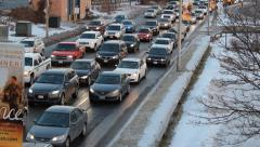 Winter Highway Traffic Stock Footage