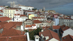 View over Alfama district of Lisbon, Portugal. Stock Footage