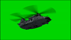 Helicopter in fly - isolated green screen footage Stock Footage