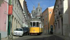 A Lisbon tram on Line 28 going to Estrela, Lisbon, Portugal. Stock Footage
