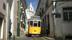 A Lisbon tram on Line 28 going to Prazeres, Lisbon, Portugal. Stock Footage