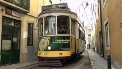 A Lisbon tram on Line 28 Alfama, Lisbon, Portugal going to Graca. Stock Footage