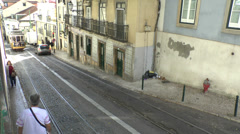 A typical Lisbon tram (line 28), Lisbon, Portugal. Stock Footage