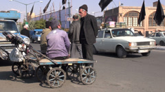 Iran, porters are waiting for customers outside Tabriz bazaar Stock Footage
