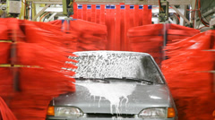 Car in automatic car wash Stock Footage