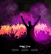 Crowd at the music concert. Vector - stock illustration