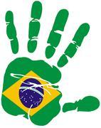 Hand print of flag of Brazil - stock illustration