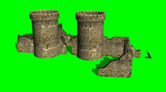 Castle ruin - different views - green screen Stock Footage