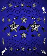 blue background with starfish, waves, fish in the style of tattoos - stock illustration