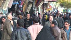 Busy, crowded street near Tabriz bazaar, Iran Stock Footage