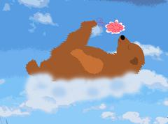 Happy bear is a cloud with a flower Stock Illustration
