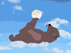 Happy bear is on the cloud with the disk and headphones Stock Illustration