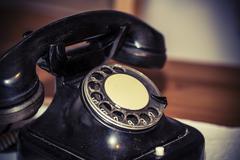 retro black old phone - stock photo