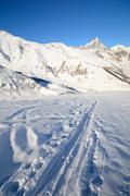 winter adventures in the alps - stock photo