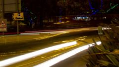 poole christmas light trails 03 pan - stock footage