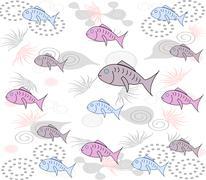 merry stylish background with fishes, algae on a white background - stock illustration