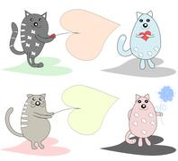 Collection of fun, funny, lovers of cats, there is a place for text Stock Illustration