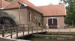 Pan Singraven estate, Historical saw mill with 3 water wheels Stock Footage