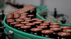 Stock Video Footage of Jars on assembly line in Jam Factory, medium shot