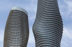 close-up of round high rises. - stock photo
