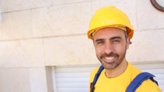 Smiling man with uniform Stock Footage