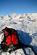 ski tour equipment and avalanche safety tools - stock photo