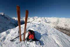 Ski tour equipment and avalanche safety tools Stock Photos