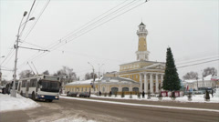 Old firehouse in Kostroma Stock Footage