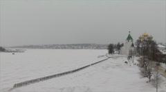 Winter landscape in Kostroma Stock Footage
