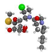 clindamycin antibiotic drug (lincosamide class), chemical structure. - stock illustration