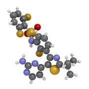 Dabrafenib melanoma cancer drug, chemical structure. Stock Illustration