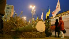 People with pine-tree, Euro maidan meeting, Kiev, Ukraine. Stock Footage