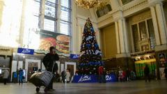 holiday tree on Kiev Central Railway Station in Kiev, Ukraine. - stock footage
